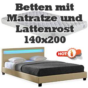 betten mit matratze und lattenrost 140x200 cm, Hause deko